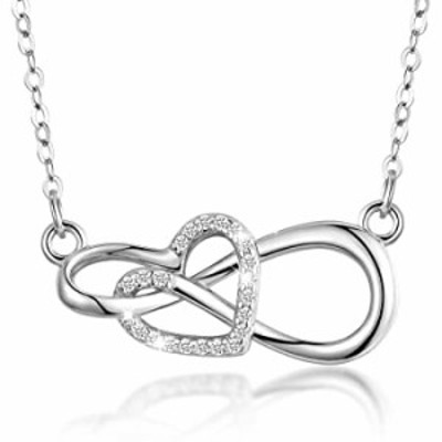 AEONSLOVE Heart Necklace Sterling Silver for Women, Infinity Heart Necklace Pendant Valentine's Mother's Day Jewelry Gifts for G