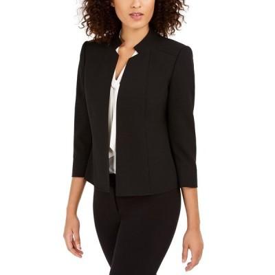 アンクライン ジャケット&ブルゾン アウター レディース Star-Collar Open-Front Blazer Black