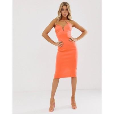エイソス ASOS DESIGN レディース ワンピース ワンピース・ドレス asymmetric strap midi pencil dress Fusion coral