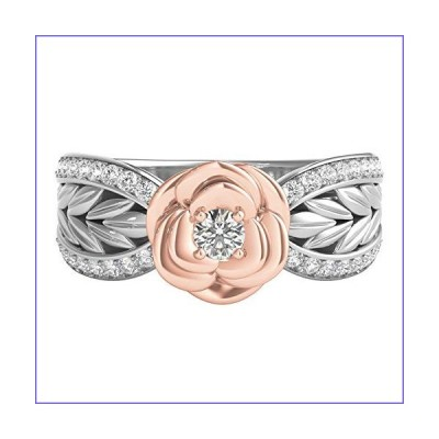 Jewelili Enchanted Disney Fine Jewelry Sterling Silver and 10K Rose Gold 1/4CTTW Belle Rose Ring[並行輸入品]