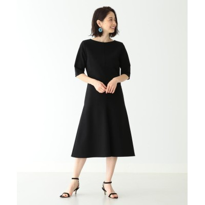 (BEAMS OUTLET/ビームス アウトレット)Demi-Luxe BEAMS / ダブルクロス ハーフスリーブワンピース/レディース BLACK