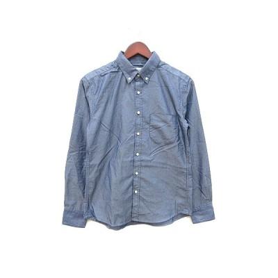 【中古】ナノユニバース nano universe ドレスシャツ ワイシャツ Yシャツ 長袖 ボタンダウン S 紺 ネイビー /CT メンズ 【ベクトル 古着】