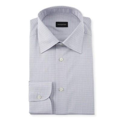 エルメネジルド・ゼニア メンズ シャツ トップス Men's Micro Check Regular-Fit Dress Shirt