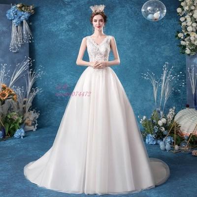 ウエディングドレス aライン ロングドレス 結婚式 花嫁 白 コンサート プリンセス 透かし感 シースルーレース パーティードレス 披露宴 安い 演奏会