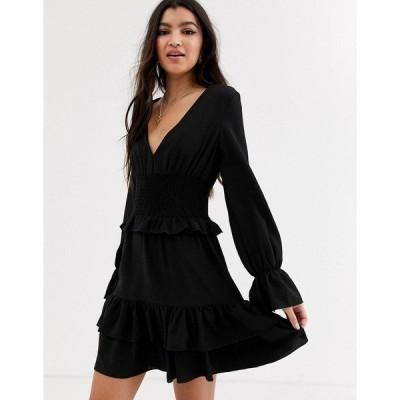 アウトレイジフォーチュン レディース ワンピース トップス Outrageous Fortune shirred waist layered mini dress in black Black
