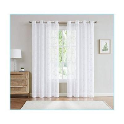 """新品LinenZone - Maria - Embroidered Semi Sheer Curtains With Grommets 54 x 96 Inch Each Panel - Total size 108"""" Wide (2 Panels 54""""W x 96""""L"""