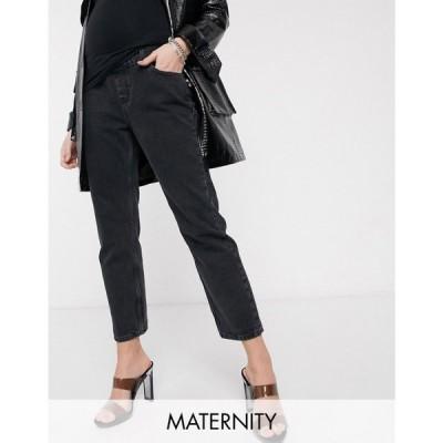 トップショップ マタニティー Topshop Maternity レディース ジーンズ・デニム ボトムス・パンツ editor overbump jeans in worn black ブラック