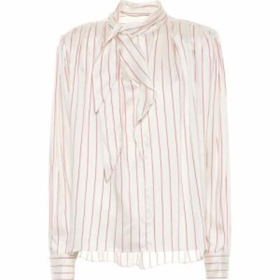 イザベル マラン Isabel Marant レディース ブラウス・シャツ トップス Ogi striped silk-blend blouse Ecru/Red