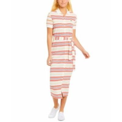 ラコステ レディース ワンピース トップス Striped Cotton Polo Shirt Dress Farine/corrida-daba-methylene-nidus