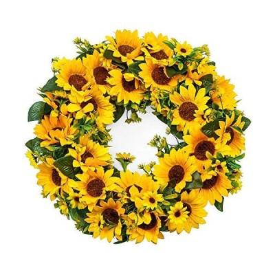 Heflashor 15.2 Sunflower Wreath Flower Door Wreath for Bee Day Artificial Y