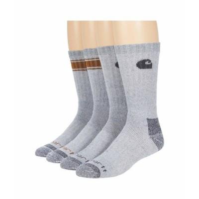 カーハート 靴下 アンダーウェア メンズ Seasonal Stripe Crew Socks 4-Pair Gray