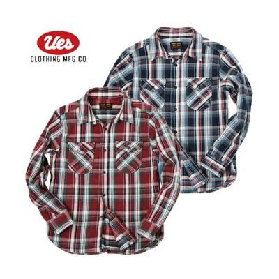 (予約8月〜9月入荷予定) UES ウエス 502152 先染めヘビーネルシャツ チェックシャツ 長袖 裏起毛 アメカジ 2021年秋冬新作