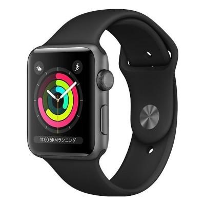 Apple Watch Series 3(GPSモデル )- 38mmスペースグレイアルミニ ウムケースとブラックスポーツバ ンド【新品未開封/在庫あり】Apple Watch Series 3