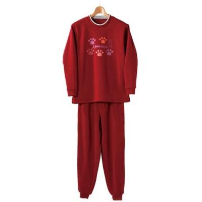 裏起毛パジャマ(上下セット)/ワイン/M-L