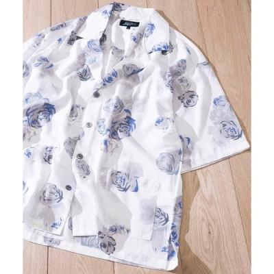 シャツ ブラウス 【a】エステル 花柄 半袖テーラーカラーシャツ