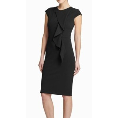 DKNY ダナキャランニューヨーク ファッション ドレス DKNY Womens Dress Black Size 4 Sheath Cap Sleeve Cascading Ruffled