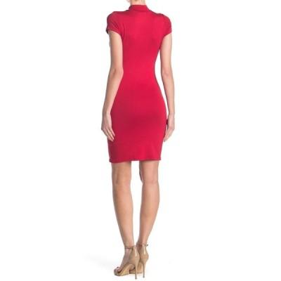 ベルベットトーチ レディース ワンピース トップス Short Sleeve Mock Neck Midi Dress RED