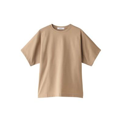 ebure エブール 超長綿スーピマコットン クルーネックTシャツ レディース ライトブラウン 38