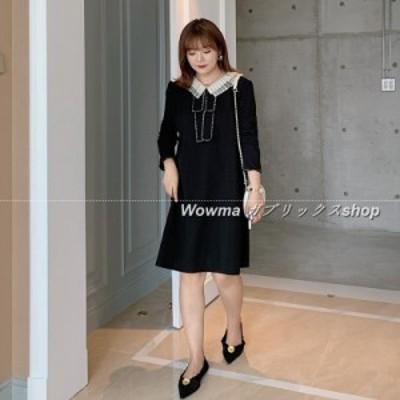 女 Aラインスカート 新品 ゆったり  2020 カジュアル 細身 ブラック 二重 長袖 オーバーオール
