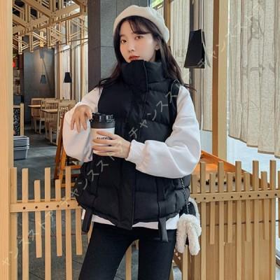 ダウンベスト レディース 防寒 ショート丈 秋冬 大きいサイズ アウター 中綿コート かわいい 軽量 防寒着 ダウンジャケット 暖かい 大きいサイズ ノースリーブ