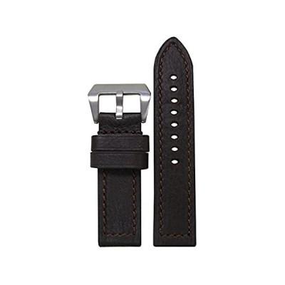 【新品・送料無料】26mm Panatime最も暗いブラウンDeep Oil Genuine Leather Watch Band with Matchステッチ26