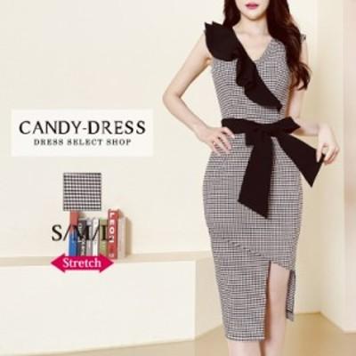S/M/L 送料無料 Luxury Dress ギンガムチェック柄×アシンメトリーフリルウエストリボンフレンチスリーブタイトミディドレス GA210401 韓