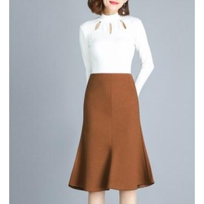 ハイウェストスカート マーメイドスカート タイトスカート ひざ丈 大きいサイズ ゆったり 秋冬 ブラウン 大人女子 10代 20代 30代 お出か