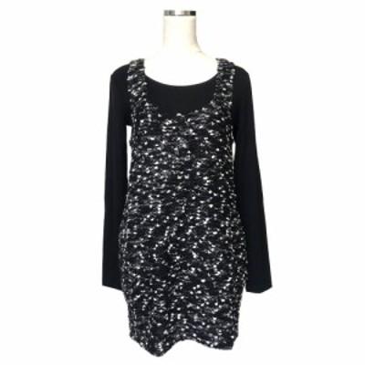 【新品】 MAYSAN GREY メイソングレー ネップワンピース インナー付 (黒 ドレス タグ付) 121235