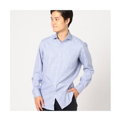 【メンズビギ】 メランジシャークスキンシャツ メンズ ブルー M Men's Bigi