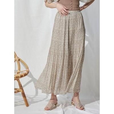 スカート フラワープリーツロングスカート