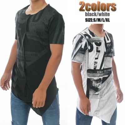 Tシャツ メンズ 半袖 ロング丈 S~XL 大きいサイズも入荷