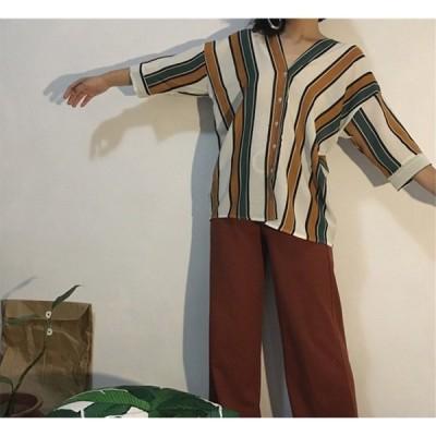 レディース シャツ 5分袖 トップス 5分袖ブラウス ファッション おしゃれ 夏 コーデ トップス vネック 薄手 カットソー  きれいめ