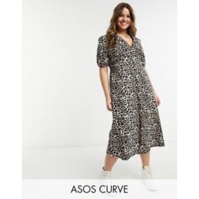 エイソス レディース ワンピース トップス ASOS DESIGN Curve ultimate midi tea dress in leopard print Leopard print