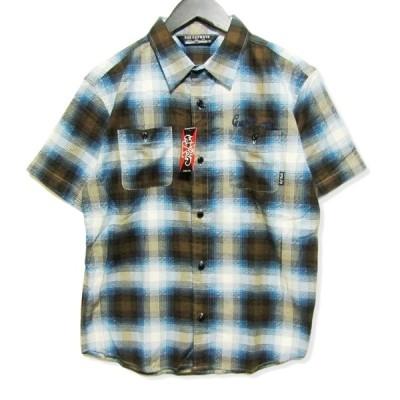 未使用 CUT RATE カットレイト S/S CHECK SHIRT CR-15ST005 半袖チェックシャツ オンブレチェック ブルー 青 M タグ付き メンズ  中古 27006811