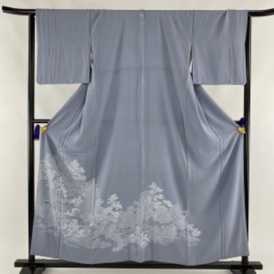 色留袖 美品 秀品 一つ紋 御所風景 松 縮緬 刺繍 青灰色 袷 身丈156.5cm 裄丈66cm M 正絹 中古