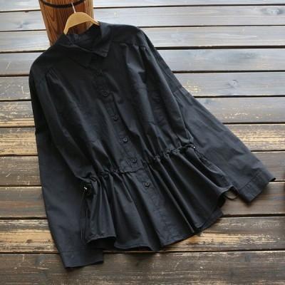 シャツ ブラウス レディース 秋冬 40代 きれいめ 綿 大きいサイズ 無地 襟付き 長袖 ぺプラム トップス j77916