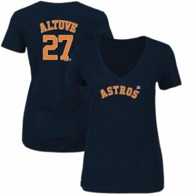 Majestic マジェスティック スポーツ用品  Majestic Jose Altuve Houston Astros Womens Navy Name & Number V-Neck T-Shi