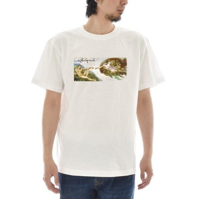 【アートTシャツ】ミケランジェロ・ブオナローティ Tシャツ アダムの創造 ライフ イズ アート 半袖 メンズ レディース 大きいサイズ 絵画 名画 ホワイト 白