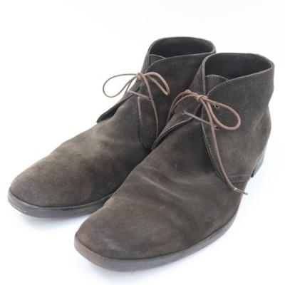 e12318 即決 本物 Ermenegildo Zegna エルメネジルドゼニア スエード チャッカブーツ ドレスシューズ 靴 ブラウン 茶 メンズ サイズ 7EE