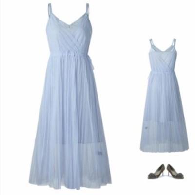 ストラップドレス ワンピース サロペットワンピース ミディミモレドレス エレガント シンプル 可愛い 乙女風 レディワンピース 水色