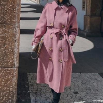 人気 秋冬 コート ロングコート ロング丈 アウター フェイクウール 着痩せ ゆったり シンプル くすみ色 きれいめ hf007