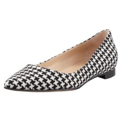 フラットシューズ マノロブラニク Manolo Blahnik BB Houndstooth Tweed Pointy Flats Black White Flat Shoes 40.5