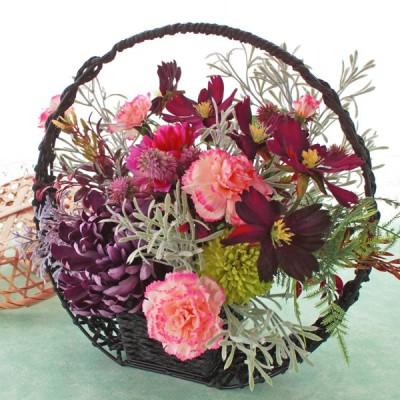 造花 シックなコスモスと大輪の菊の和風アレンジ 秋のアレンジ シルクフラワー CT触媒