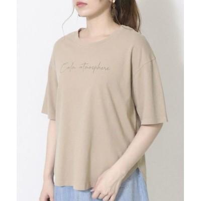 COMME CA ISM/コムサイズム メッセージプリント Tシャツ ベージュ F
