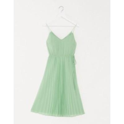 エイソス レディース ワンピース トップス ASOS DESIGN pleated cami midi dress with drawstring waist in sage green Sage green