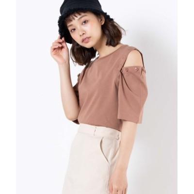 (WEGO/ウィゴー)WEGO/ボタンオープンショルダーTシャツ/ユニセックス ライトブラウン