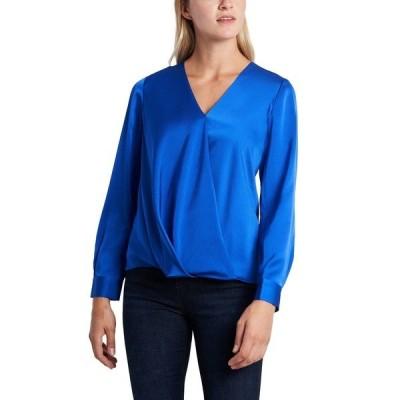 ヴィンスカムート カットソー トップス レディース Women's Long Sleeve Wrap Front Blouse Prussian Blue