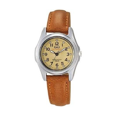 [シチズン Q&Q] 腕時計 アナログ ソーラー 防水 革ベルト H045-303 レディース ブラウン (文字盤色-ゴールド)