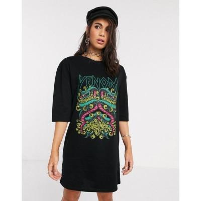 ロココ レディース ワンピース トップス Rokoko oversized boxy t-shirt dress with snake graphic Black