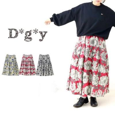 D*g*y ディージーワイ レトロ花柄スカート  綿麻 M L LL 3L 4L